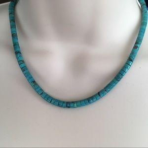 Vintage Graduated Turquoise Heishi Beaded Necklace